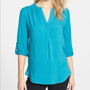 •PLEIONE•NWOT Nordstrom Teal Mixed Media Tunic Top